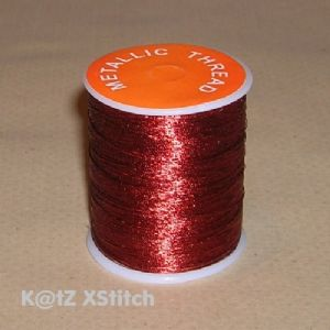 JEBTZ - 200 Yard Reel of Red Metallic Embroidery Thread
